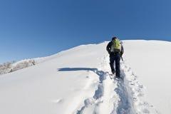 Mann, der im Schnee wandert Lizenzfreie Stockfotos