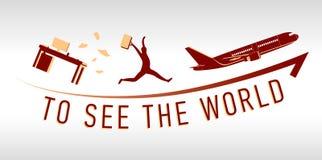 Mann, der im Urlaub aus dem Büro heraus läuft Tasche und Flugzeug lizenzfreie stockfotografie