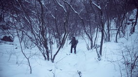 Mann, der im Wald wayfinding ist stock video footage