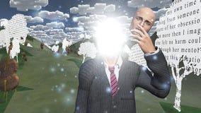 Mann, der innere Leuchte in der Landschaft zeigt Stockbilder