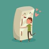 Mann, der Kühlschrank umarmt Stockfoto