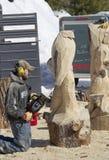 Mann, der Kettensäge verwendet, um ein hölzernes Schnitzen des Adlers zu schnitzen Stockbilder
