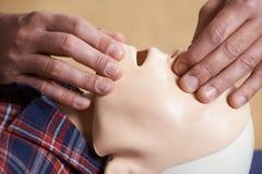 Mann in der Klasse der ersten Hilfe, die Fluglinie auf CPR-Attrappe überprüft Lizenzfreie Stockfotos