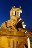 Mann, der Löwe besiegt Stockbild
