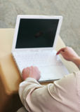Mann, der Laptop verwendet Lizenzfreie Stockfotos