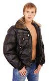Mann in der Lederjacke stockfoto
