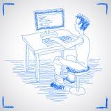 Mann, der mit Computer arbeitet Stockbilder