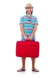 Mann, der mit den Koffern lokalisiert reist Lizenzfreies Stockbild