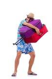 Mann, der mit den Koffern lokalisiert reist Lizenzfreies Stockfoto