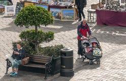 Mann, der mit einem Spaziergänger ein Kind geht Lizenzfreies Stockbild