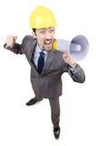 Mann, der mit Lautsprecher kreischt Lizenzfreies Stockfoto