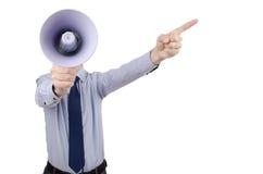 Mann, der mit Lautsprecher kreischt Stockfotografie