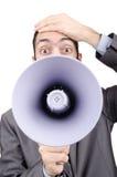 Mann, der mit Lautsprecher kreischt Lizenzfreies Stockbild