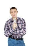 Mann, der mit Mikrofon spricht Lizenzfreie Stockfotos