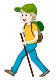 Mann, der mit Rucksack wandert Stockfotos