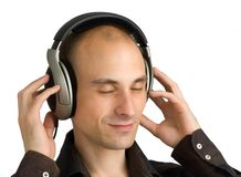 Mann, der Musik genießt Stockfotos