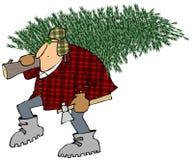 Mann, der nach Hause einen Weihnachtsbaum trägt lizenzfreie abbildung