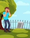 Mann, der nahe Finanzanzeige und das Schreien steht Sorgen machendes Kerlbesuchsgrab Grüner Baum, Zaun und blauer Schweinestall a Stockfotos