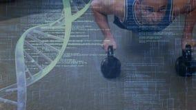 Mann, der neben DNA-Helix trainiert stock footage