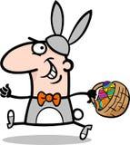 Mann in der Osterhasen-Kostümkarikatur Stockfoto