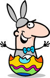 Mann in der Osterhasen-Kostümkarikatur Lizenzfreie Stockbilder