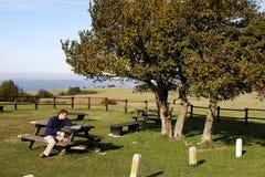 Mann, der am Picknicktisch unter Verwendung des Laptops sitzt Lizenzfreie Stockbilder