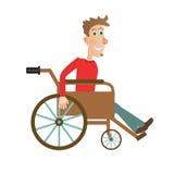 Mann in der Rollstuhlvektorillustration stock abbildung