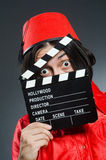 Mann, der roten Fez-Hut trägt Stockfotografie