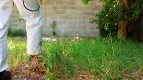 Mann, der Schädlingsbekämpfung tut stock footage