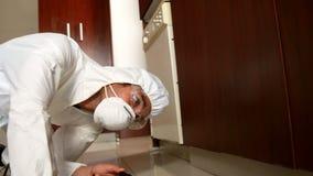 Mann, der Schädlingsbekämpfung tut stock video
