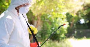 Mann, der Schädlingsbekämpfung tut stock video footage