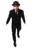 Mann, der schwarzen Mantel trägt Stockfoto