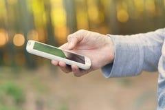 Mann, der sein Telefon im Wald bei Sonnenuntergang verwendet Lizenzfreies Stockfoto