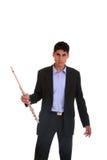 Mann, der seine Flöte spielt. Stockbild