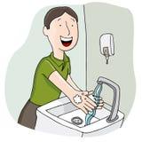 Mann, der seine Hände wäscht Stockbilder