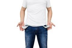Mann, der seine leeren Taschen zeigt Stockfoto