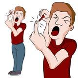 Mann, der seinen Finger sticht Lizenzfreie Stockfotos