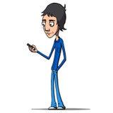 Mann, der seinen Smartphone aufpasst Auch im corel abgehobenen Betrag Lizenzfreies Stockfoto