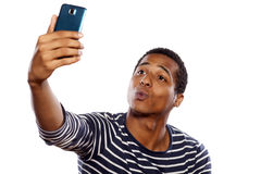 Mann, der selfie nimmt Stockfotos