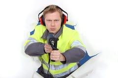 Mann in der Sicherheitsweste Lizenzfreie Stockfotos