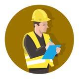 Mann in der Sicherheitsweste eine Projektliste überprüfend oder Sicherheitskontrolle tuend lizenzfreie abbildung