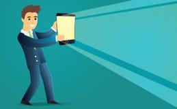 Mann, der Smartphone als Laterne hält Lizenzfreies Stockbild