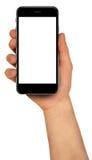 Mann, der Smartphone mit leerem Bildschirm hält Hoch ausführlich stockfotografie