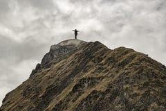 Mann an der Spitze des Berges Stockbilder