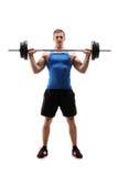 Mann in der Sportkleidung trainierend mit einem Gewicht Stockbild