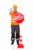 Mann, der Stoppschild zeigt Lizenzfreies Stockfoto