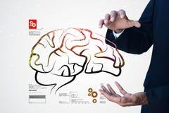 Mann, der Struktur des menschlichen Gehirns zeigt Lizenzfreies Stockfoto