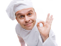 Mann in der Uniform des Chefs Stockbild