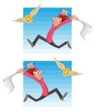 Mann, der versucht, Fliegengeld zu fangen Dollarmünze oder Euromünze Stockbild