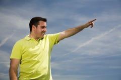 Mann, der vorwärts zeigt Stockfotografie